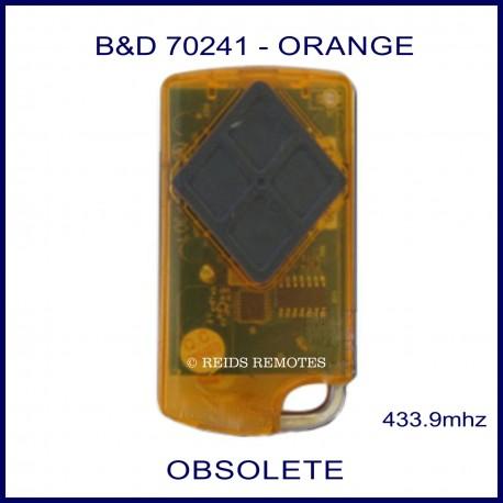 B&D  Tritran orange garage remote with 4 black buttons - model 70241