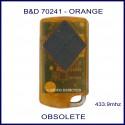 B&D  Tritran orange garage remote with 4 black buttons - model 7024