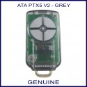 ATA PTX 5 V2  smoked black garage remote with 4 grey buttons