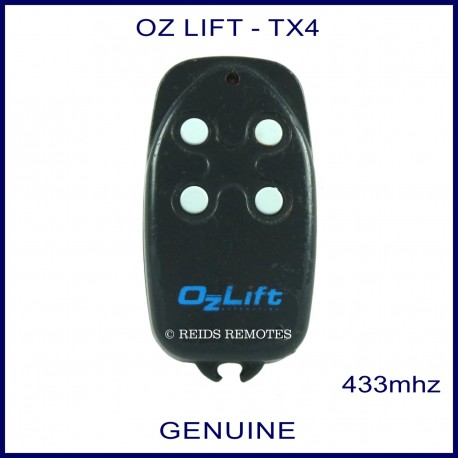OzLift black TX4 garage remote with 4 small round white buttons
