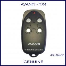 Avanti black TX4 garage remote - 4 small round white buttons
