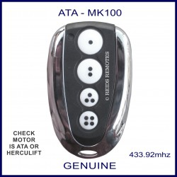 ATA MK100 - chrome & black garage remote - 4 white buttons