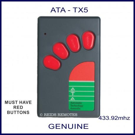 Ata Tx5 Large Grey Garage Door Remote Control With 4 Red