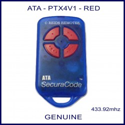 ATA PTX4V1 - blue garage door remote - 4 red buttons