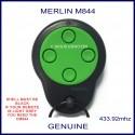 Merlin M844 round green and black garage door remote control