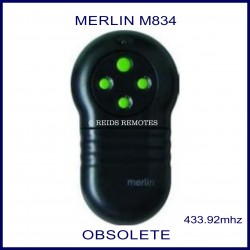 Merlin M834 large black garage remote with 4 green buttons