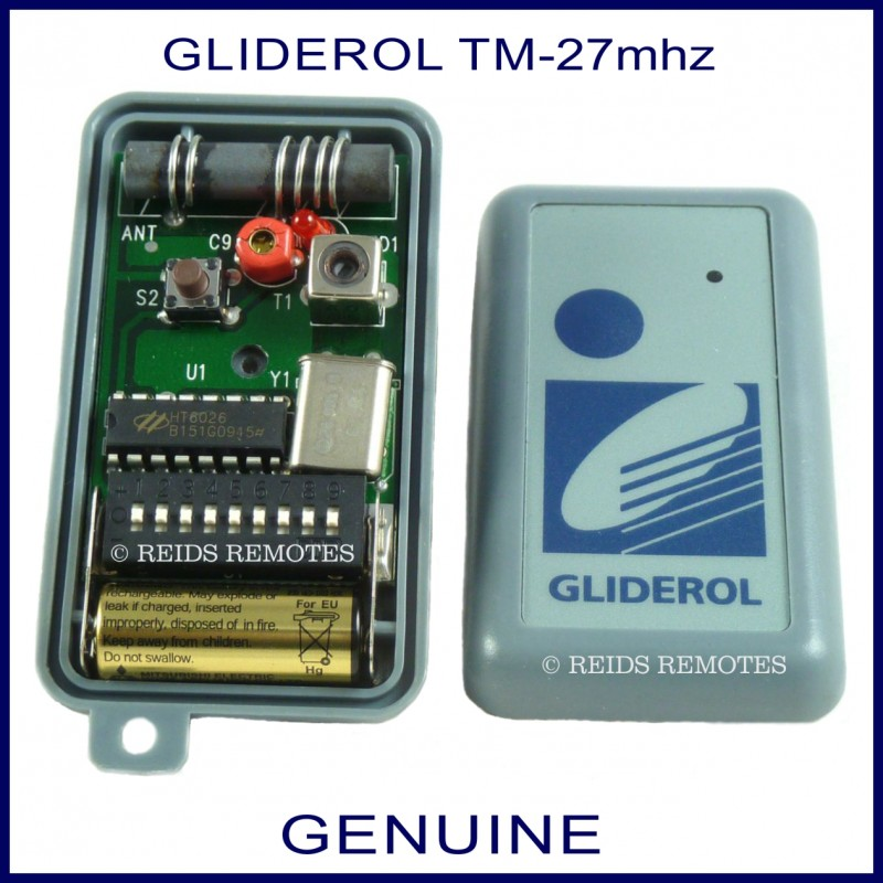 Gliderol TM-27Mhz 1 Button Blue Grey Garage Door & Gate