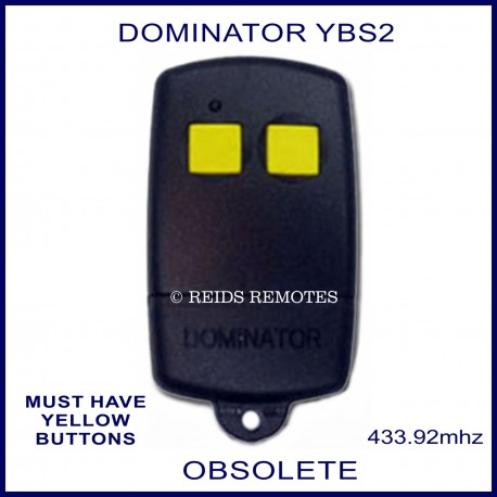 Dominator Ybs2 Black Garage Door Remote Control With 2 Yellow Buttons