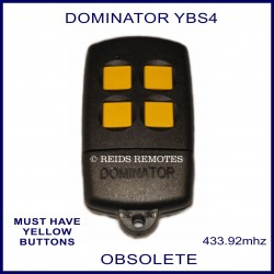 Dominator YBS4 black garage remote with 4 yellow buttons