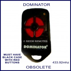 Dominator black garage remote with 4 red buttons