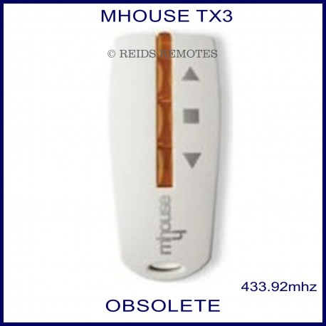 Mhouse TX3 genuine light grey gate remote control with 3 orange buttons