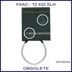 FAAC T2 433 SLH black square 2 button gate remote