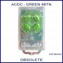 ACDC 4 green button clear case garage door remote control