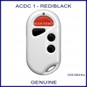 ACDC white garage door remote 1 red & 3 black buttons