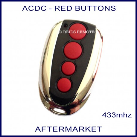 ACDC chrome & black garage & gate remote 4 red buttons