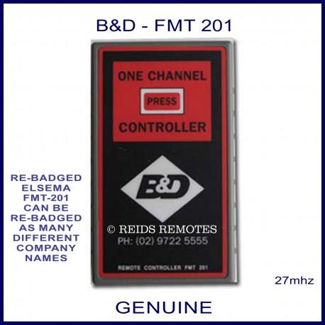 B&D FMT 201, 1 red button black & red 27mhz garage door remote control