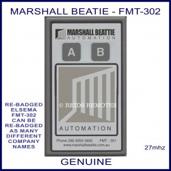 Marshall Beattie FMT 302, 2 button grey 27 MHz gate remote control