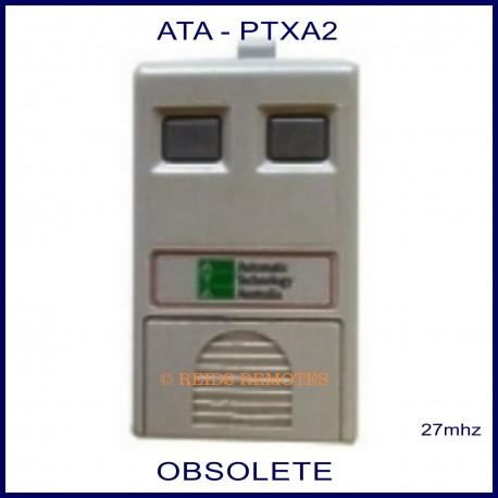 ATA PTXA2, grey 27 MHz garage door remote control with 2 small grey button