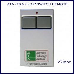 ATA TXA2, grey 27 MHz garage door remote control with 2 grey buttons