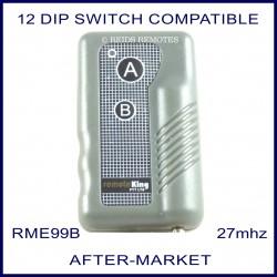 Remoteking RME99B, 2 button 27 MHz key ring size remote control