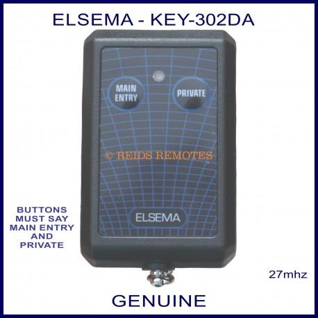 Elsema KEY-302DA, 2 button 27 MHz key ring size garage door & gate remote control