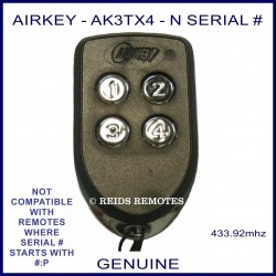 Airkey AK3TX4 - N Serial number 4 button remote