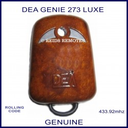 DEA GENIE R273 LUXE wood grain gate remote with 2 grey buttons
