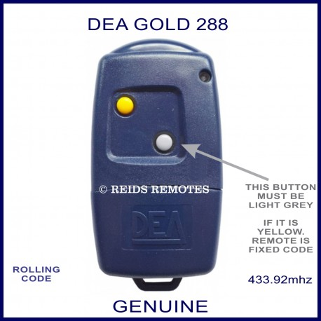 DEA GOLD 288 navy blue gate remote with 2 buttons