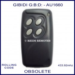 Gibidi (G:B:D:) AU1660 4 button grey gate remote