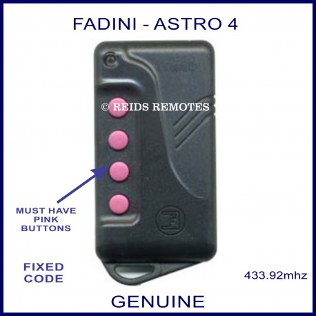 Fadini Astro 43-4 navy blue gate remote with 4 pink buttons