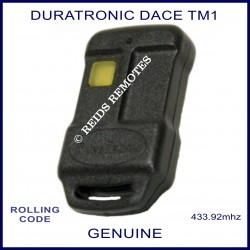 Dura Tronic Dace TM1 genuine garage door & gate remote control with yellow button
