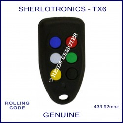 Sherlo TX6 long range garage, gate & alarm remote with 6 coloured buttons