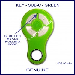 KEY Green rolling code garage & gate remote 4 grey buttons