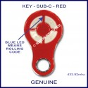 KEY Red rolling code garage & gate remote 4 grey buttons