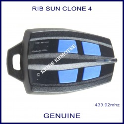 RIB Sun Clone black gate remote with 4 blue buttons