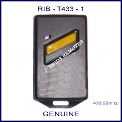 RIB T433-1 Black gate remote with 1 yellow button