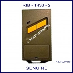 RIB T433-2 Black gate remote with 2 yellow buttons