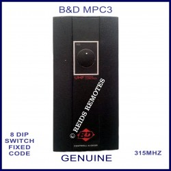 B&D MPC3 OLD shape 1 button 8 dip switch 315Mhz remote