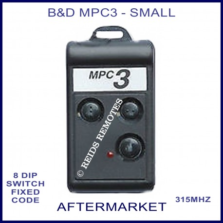 B&D MPC3 small 3 black button 315Mhz remote