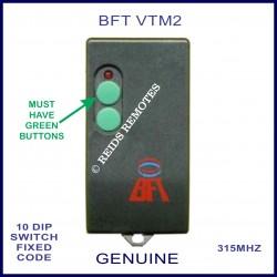 BFT VTM2 - 2 green button 10 dip switch 315Mhz remote