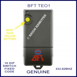 BFT TEO1 - 1 yellow button 10 dip switch 433Mhz remote