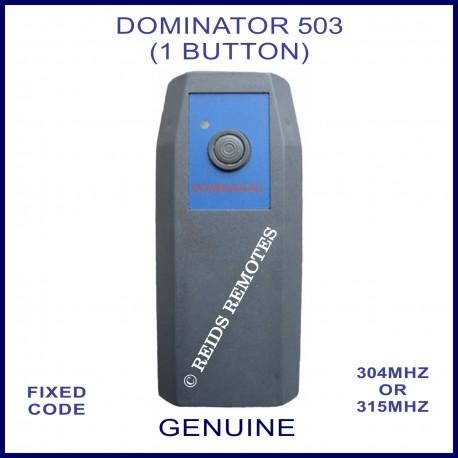 Dominator 503 Large 1 Button Garage Door Remote With Black Blue Case