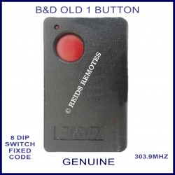B&D 1 red button 303Mhz 8 dip switch garage remote