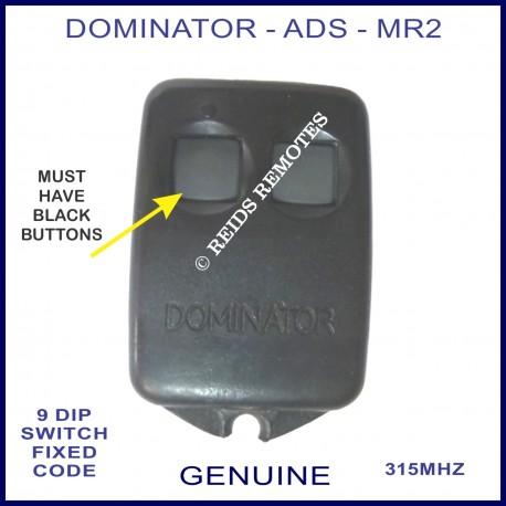 Dominator Ads Mr2 Small 2 Button Garage Door Remote With Black Case