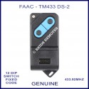 FAAC TM 433DS-2, 2 button black & blue 433mhz gate remote