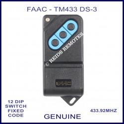 FAAC TM 433DS-3, 3 button black & blue 433mhz gate remote