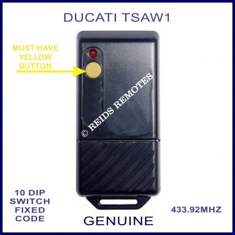 DUCATI TSAW1, 1 yellow button black 433mhz remote