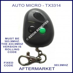 Auto-Micro TX3314, 2 button grey remote - 1 black & 1 green button