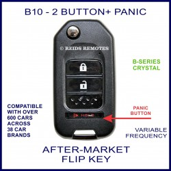 B10 - 2 button + PANIC black B-Series Crystal transmitter flip-key
