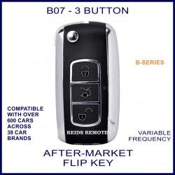B07 black & chrome 3 button B-Series standard transmitter flip-key